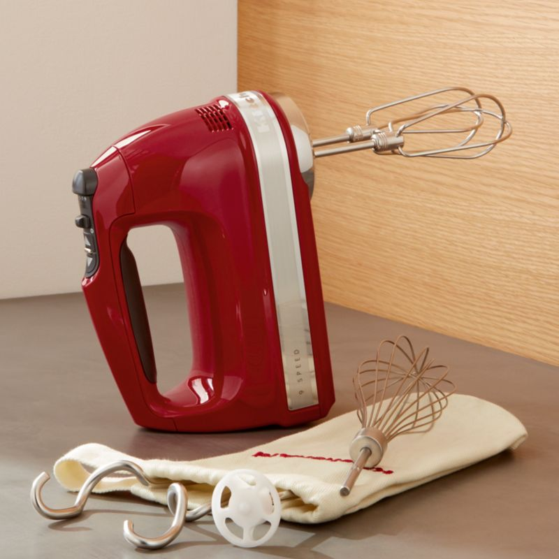 KitchenAid Empire Red 9-Sd Hand Mixer + Reviews | Crate and Barrel on kitchen aid range red, emerson mixer red, kitchen aid food processor red, kitchen aid coffee maker red, 5 qt kitchenaid mixer red,