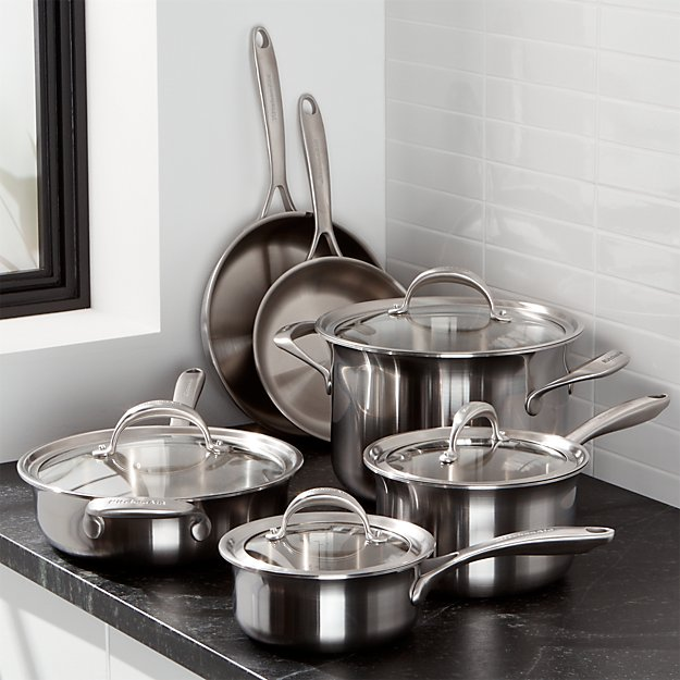 Kitchenaid Pot And Pan Set kitchenaid ® 10-piece triply stainless steel cookware set | crate