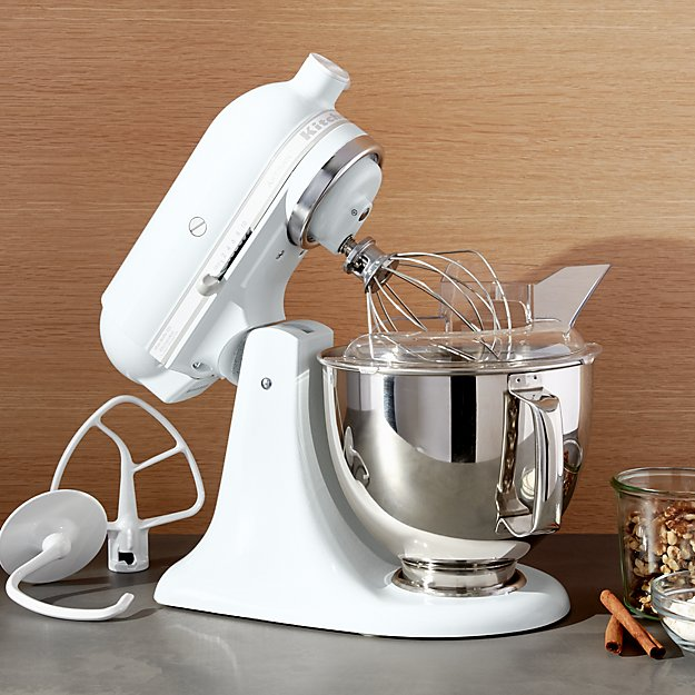 White Kitchenaid kitchenaid ksm150psww artisan white on white stand | crate and barrel