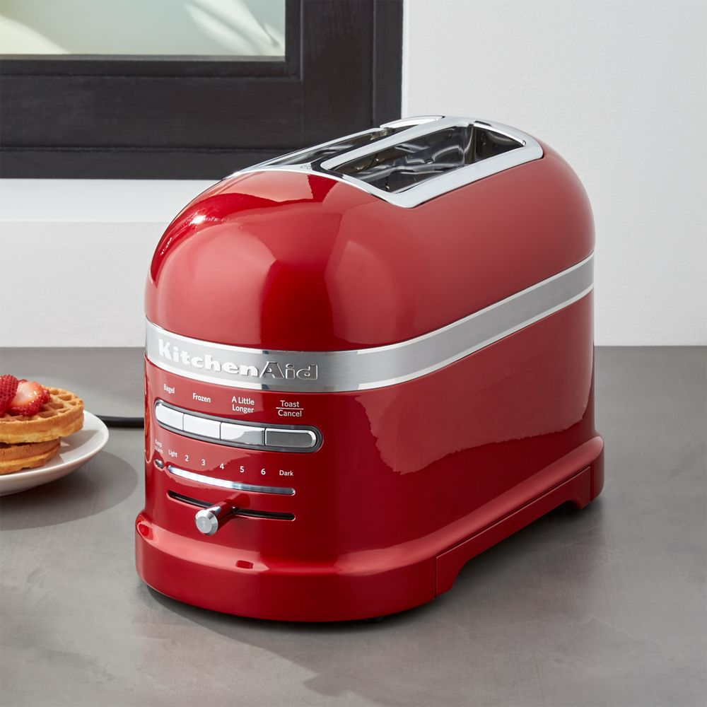KitchenAid ® Pro Line Candy Apple Red 2-Slice Automatic Toaster - Crate and Barrel