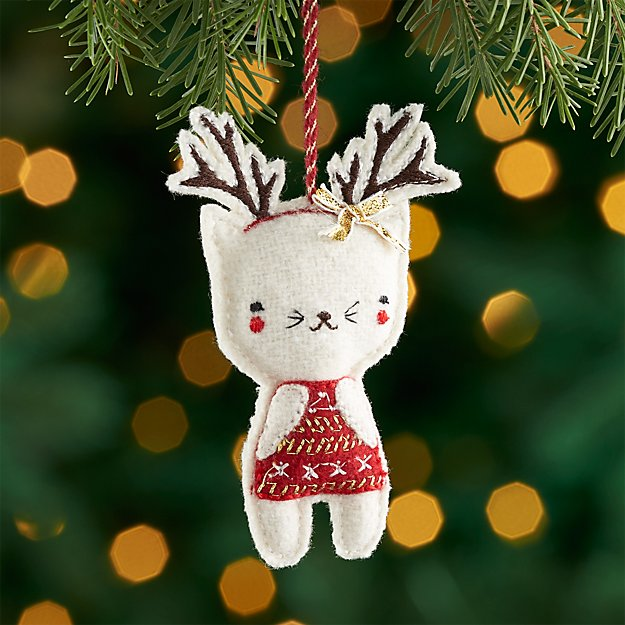 Kitty with Antlers Felt Ornament