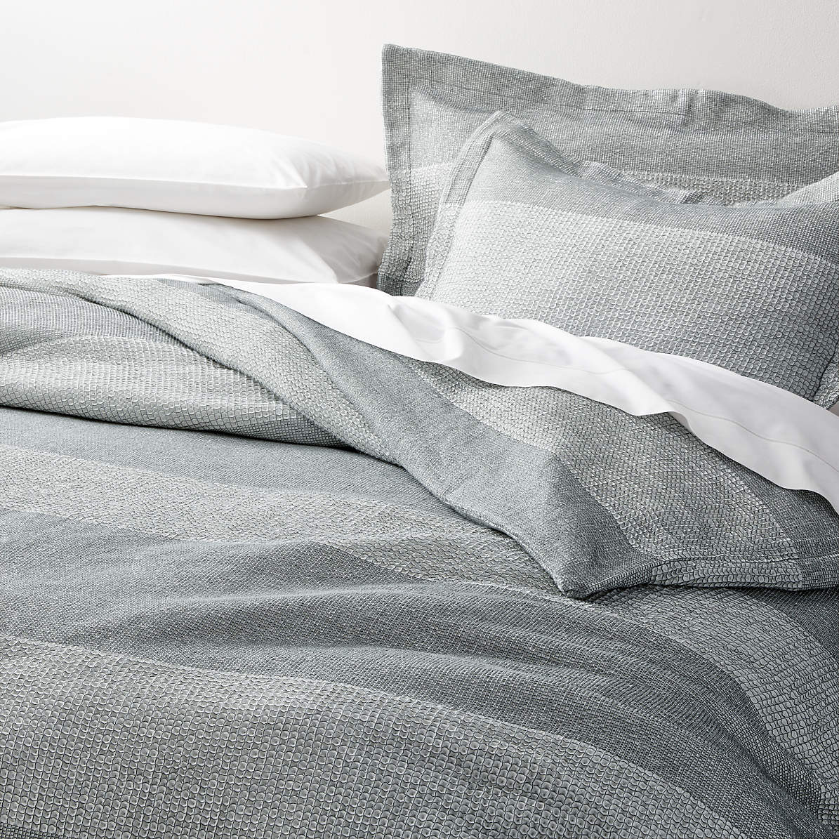 Kiyomi Grey Striped Duvet Covers And Pillow Shams Crate And Barrel