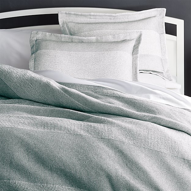Kiyomi Grey Striped Duvet Covers And Pillow Shams Crate