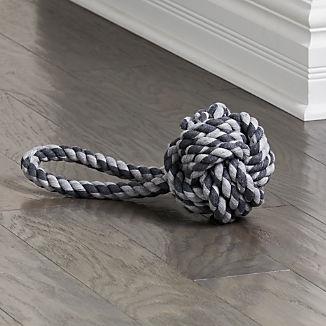 "Light Grey Dark Grey 6"" Knot Rope Toy"