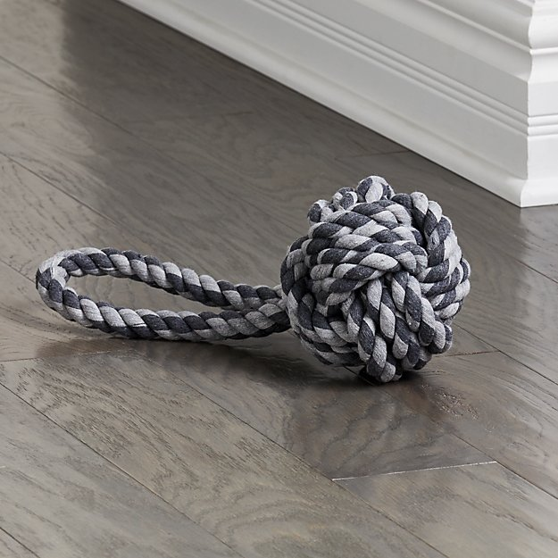 "Light Grey Dark Grey 6"" Knot Rope Toy - Image 1 of 3"