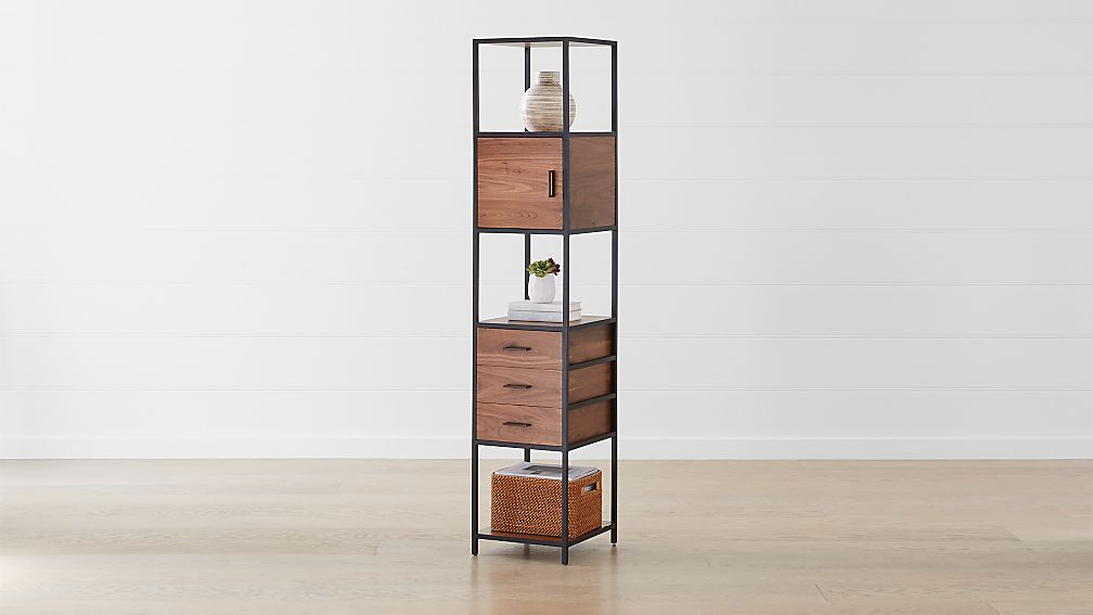 Knox Black Tall Narrow Storage Bookcase Reviews Crate And Barrel