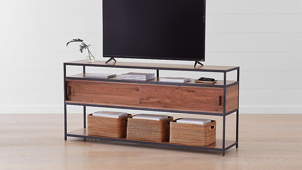"Knox Black 76"" Industrial Media Console - Image 1 of 6"