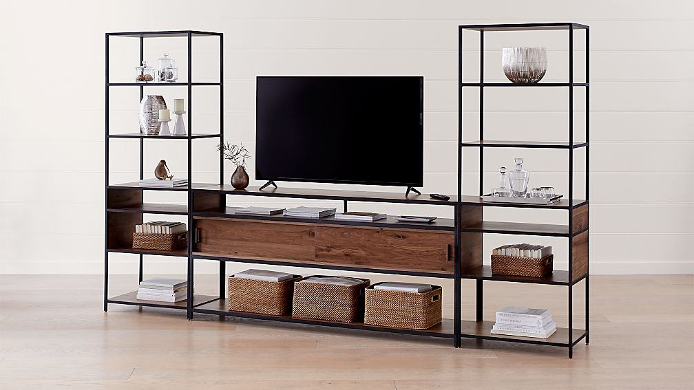 "Knox Black 76"" Industrial Media Console with 2 Tall Open Bookcases - Image 1 of 4"