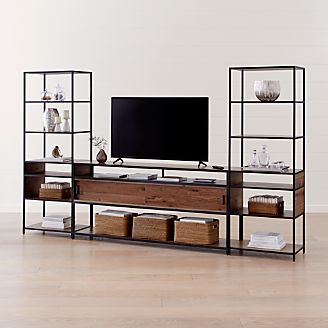 Knox Black 76 Media Console With 2 Tall Open Bookcases