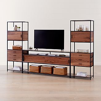 Knox Black 76 Industrial Media Console With 2 Tall Storage Bookcases