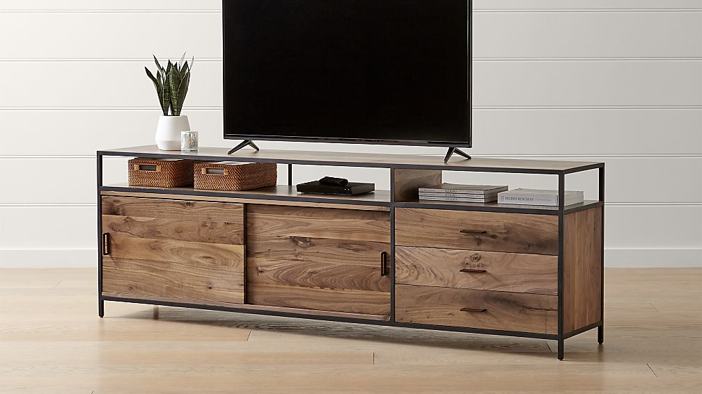 "Knox Black 90"" Industrial Media Console - Image 1 of 5"
