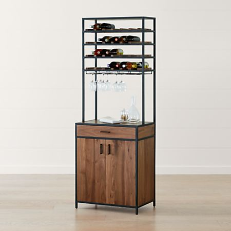 Knox Black Tall Storage Wine Tower Reviews Crate And Barrel