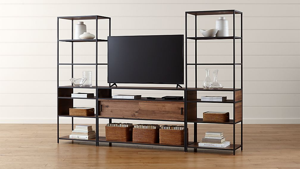 Knox Media Console with 2 Tall Open Bookcases - Image 1 of 4