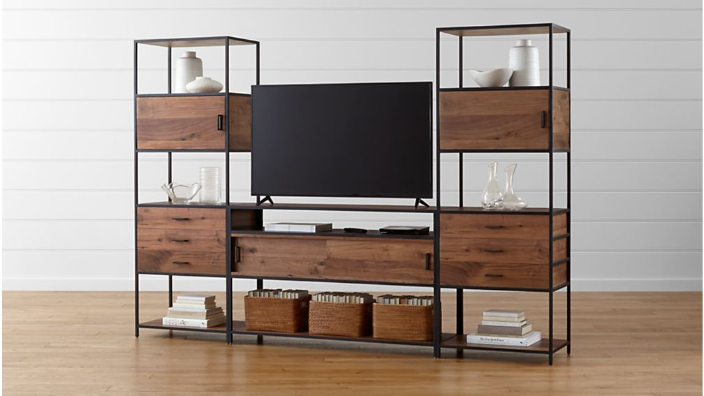 Knox Media Console with 2 Tall Storage Bookcases - Image 1 of 9