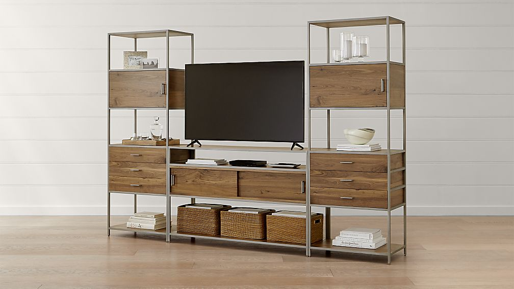 Knox Nickel Industrial Media Console with 2 Tall Storage Bookcases - Image 1 of 5