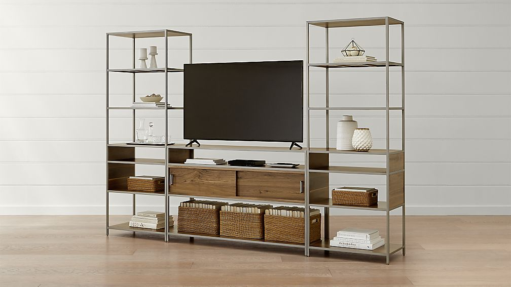 Knox Nickel Industrial Media Console with 2 Tall Open Bookcases - Image 1 of 5