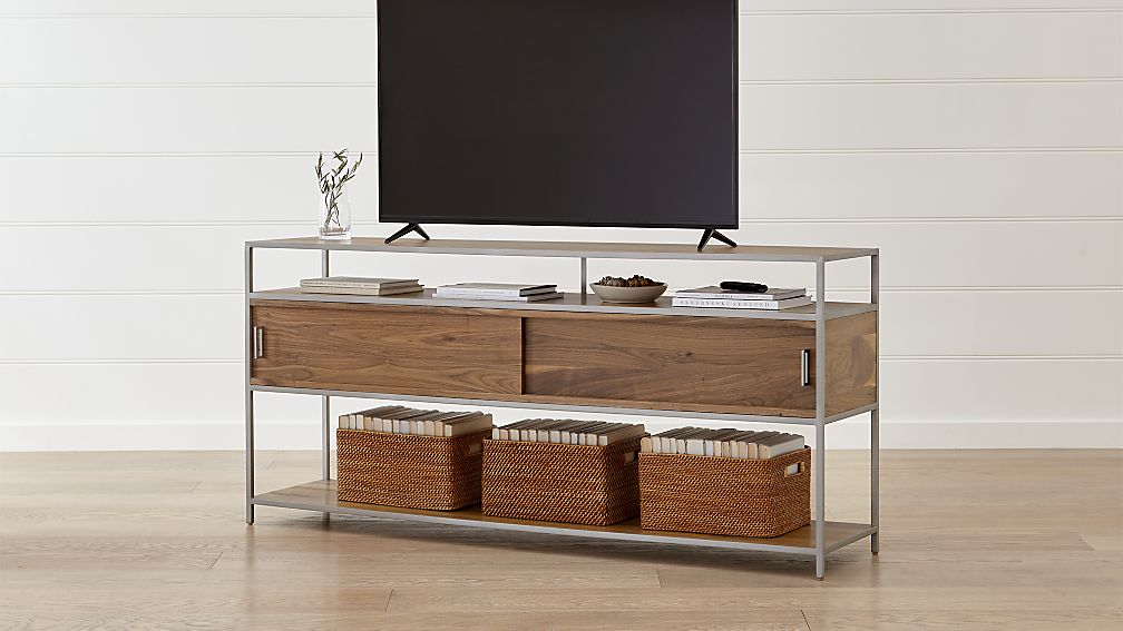 "Knox Nickel 76"" Industrial Media Console - Image 1 of 7"