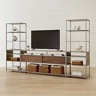 Knox Nickel 76 Media Console With 2 Tall Open Bookcases