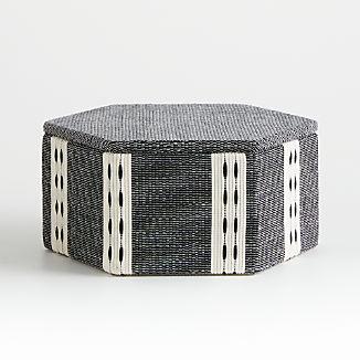 Koba Black/White Woven Hexagon Box
