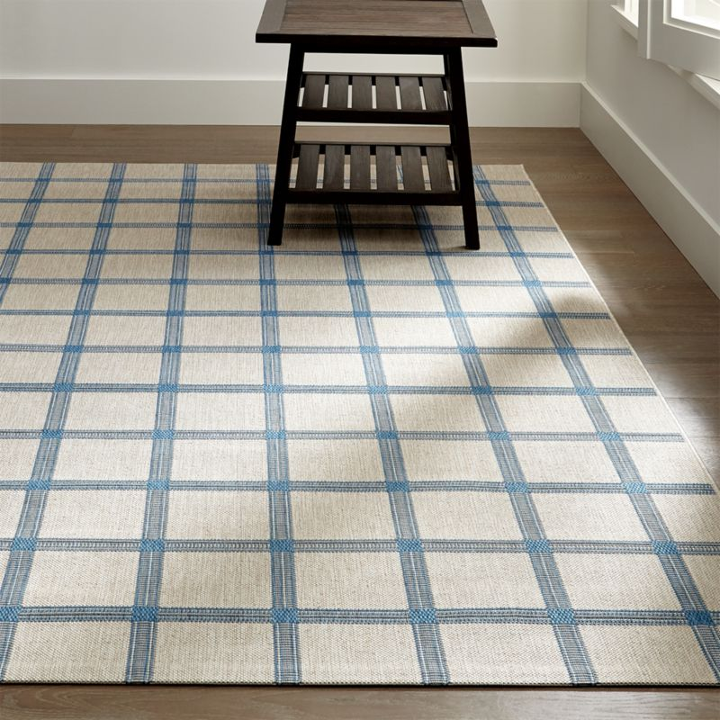 Koen Grid Sky Blue Outdoor Rug | Crate and Barrel