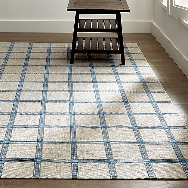 Koen Grid Sky Blue Indoor-Outdoor Rug
