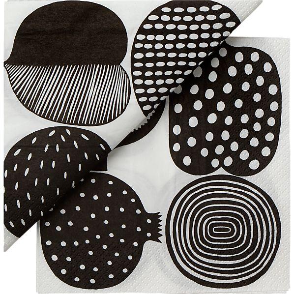 "Set of 20 Marimekko Kompotti White and Black Paper 6.5"" Napkins"