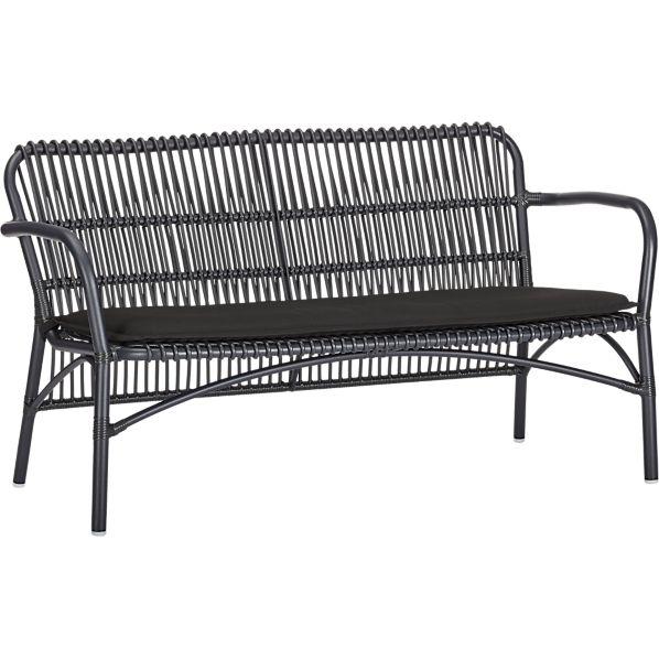 "Kruger Black 56"" Loveseat with Sunbrella ® Black Cushion"