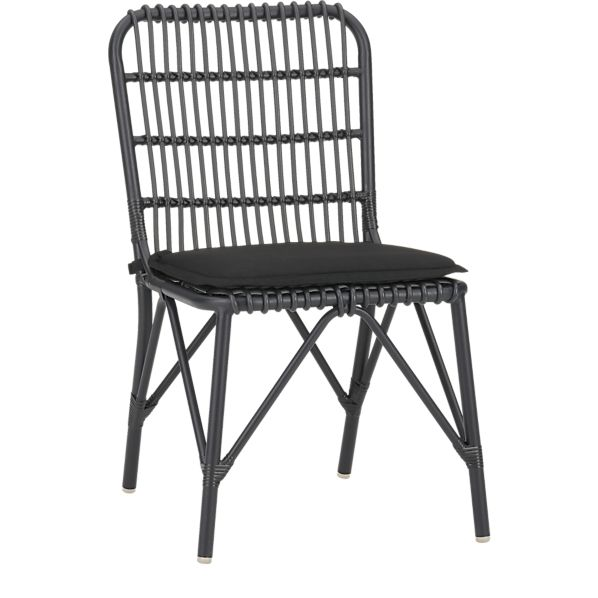 Kruger Black Dining Chair with Sunbrella ® Black Cushion
