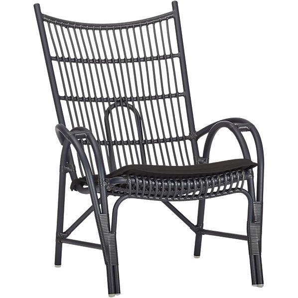 Kruger Black High Back Lounge Chair with Sunbrella ® Black Cushion