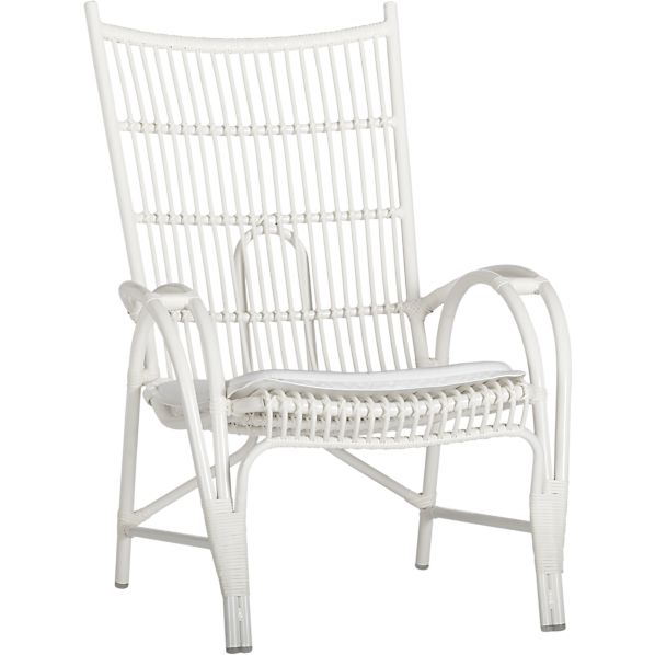 Kruger White High Back Lounge Chair with Sunbrella ® White Cushion