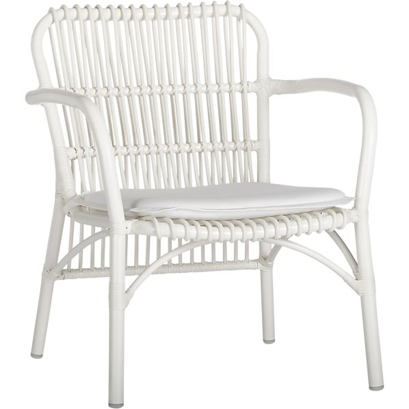 Kruger White Lounge Chair with Sunbrella ® White Cushion