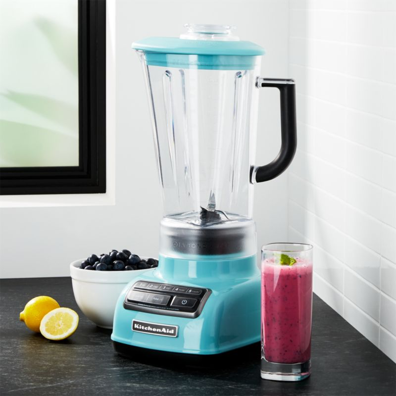 KitchenAid ® 5 Speed Aqua Sky Diamond Vortex Blender | Crate And Barrel