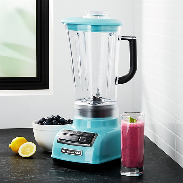 KitchenAid 5-Speed Aqua Sky Diamond Vortex Blender | Crate and Barrel