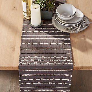 "Kylo 90"" Grey and White Table Runner"