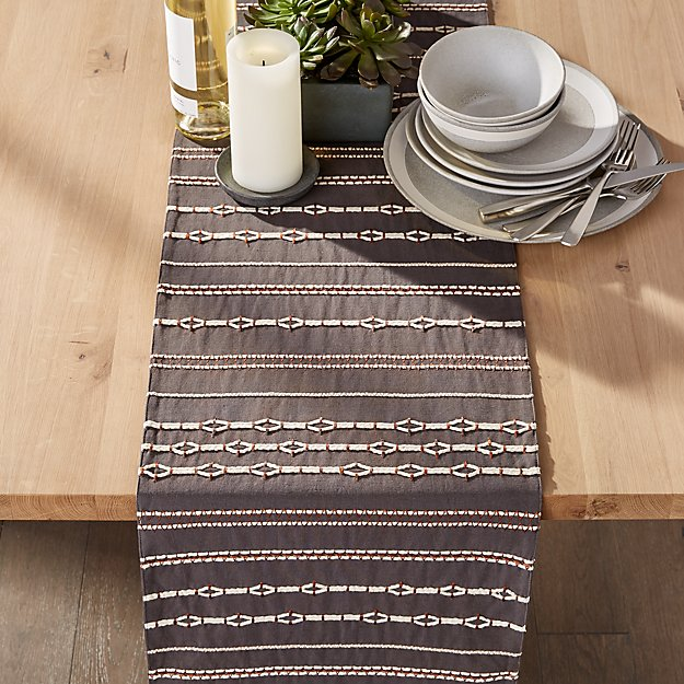 "Kylo 90"" Grey and White Table Runner - Image 1 of 3"