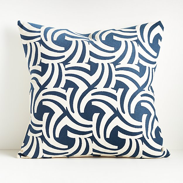 """Kyune Blue and White Pillow 23""""x23"""" - Image 1 of 8"""