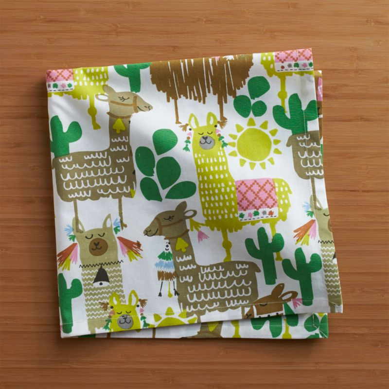 Festooned with fancy trappings, our proud pack of llamas struts south-of-the-boarder style on white cotton napkins. Coordinate this colorful and charming pattern with any number of solid-colored table linens.<br /><br /><NEWTAG/><ul><li>100% cotton</li><li>Machine wash cold, tumble dry; warm iron as needed</li><li>Do not dry clean or bleach</li></ul>