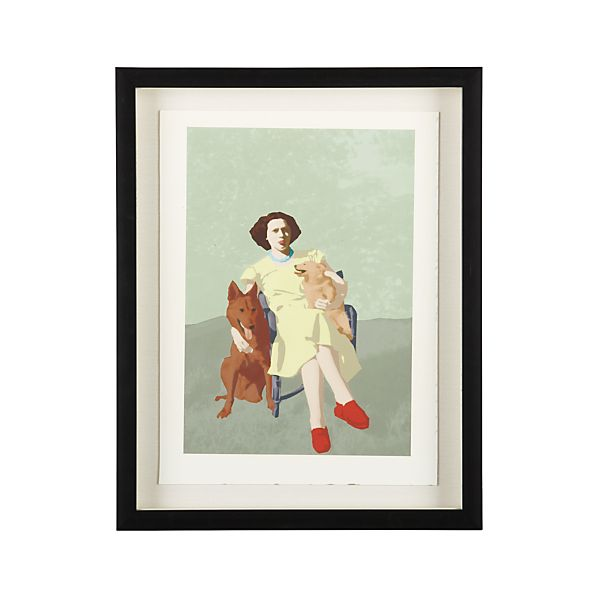 Lady and Two Dogs Print