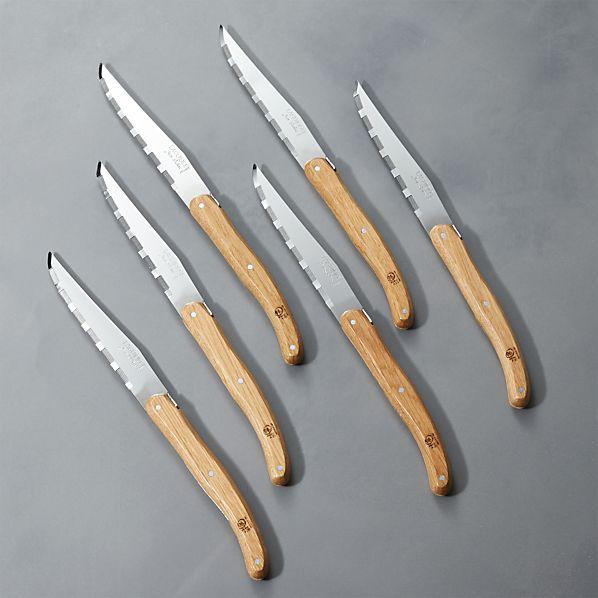 LaguioleOakwdSteakKnivesS6ROF16