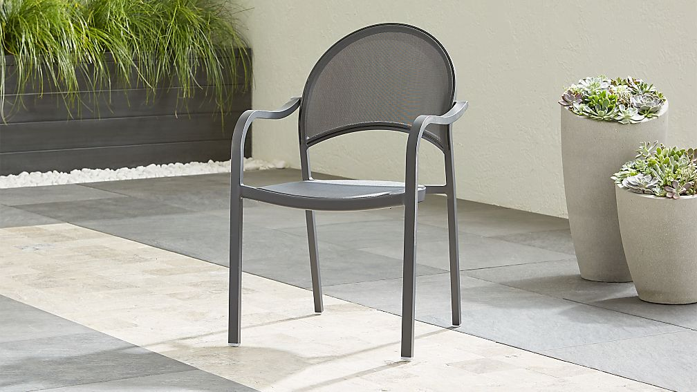 Lanai Charcoal Mesh Dining Chair - Image 1 of 8