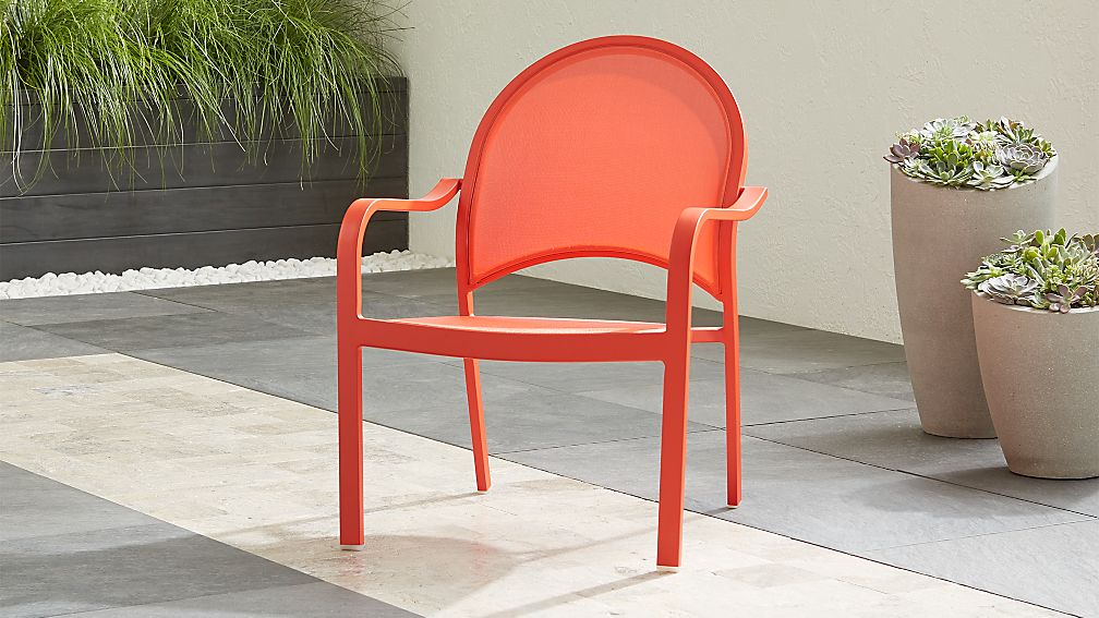 Lanai Orange Mesh Lounge Chair - Image 1 of 7
