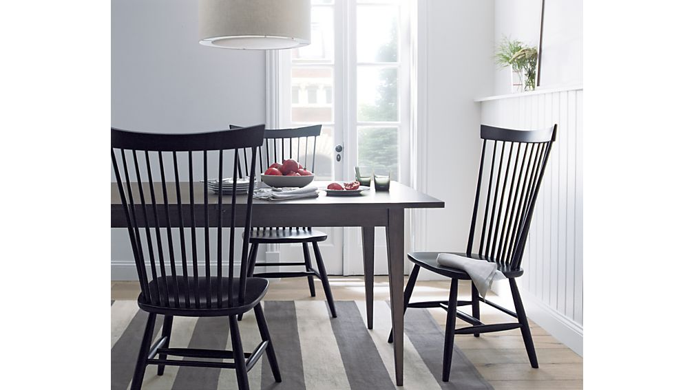 Marlow ii wood dining chair crate and barrel for Black n white dining rooms