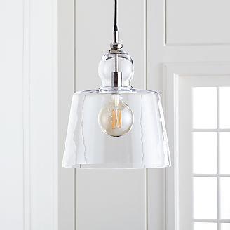 Pendant lighting and chandeliers crate and barrel lander 15 polished nickel pendant light aloadofball Images
