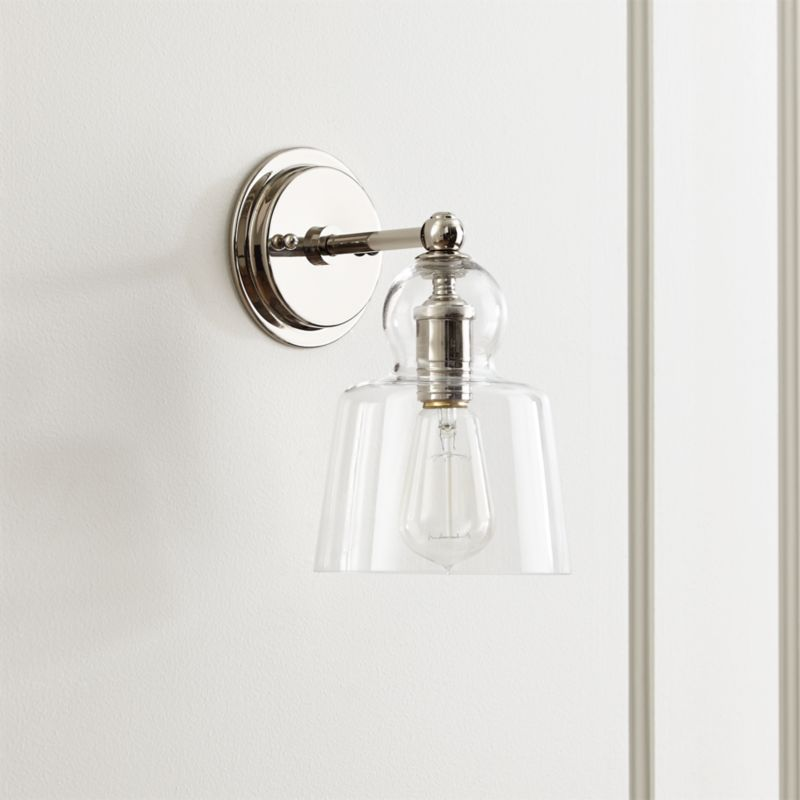 amazon com sconce nuvo light nickel vintage cone wall incandescent polished dp glass one clear lighting