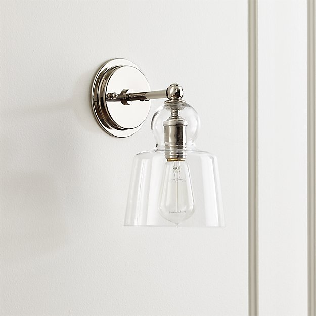 Lander Polished Nickel Sconce Reviews Crate And Barrel - Bathroom sconces with shades