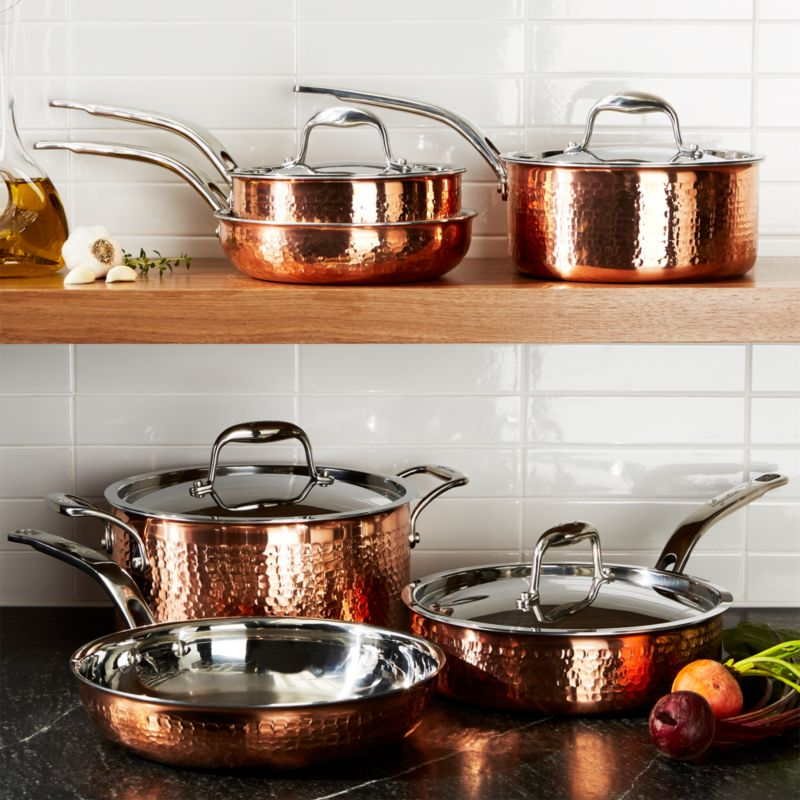 Lagostina Martellata Hammered Copper 10Piece Cookware Set in