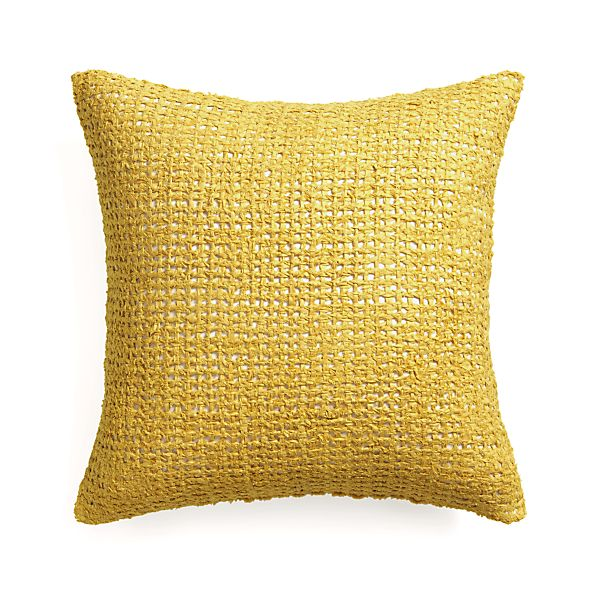 """Lanzo Yellow 20"""" Pillow with Feather Insert"""