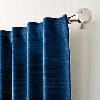Laras Blue Velvet Curtain Panel