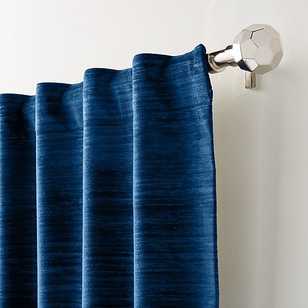 Laras Blue Velvet Curtain Panel - Image 1 of 6