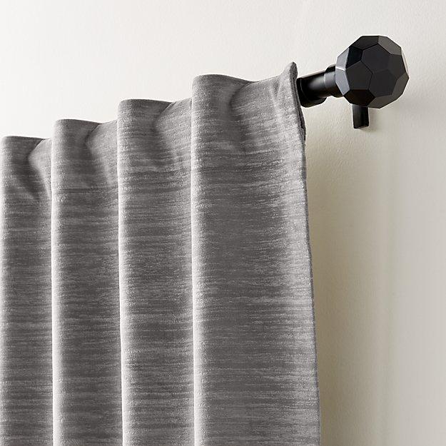 Laras Grey Velvet Curtain Panel - Image 1 of 6